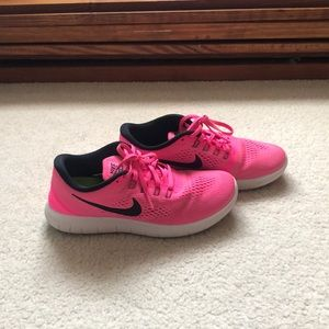 Bright Pink Nike Free Runs